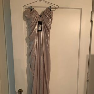 Gourjeous NWT silver Marciano dress. Size 0